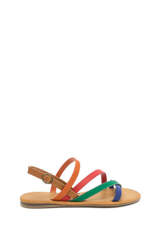 Strappy Times Contrast Caged Sandals