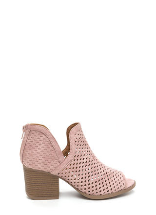 Perforated Peek Chunky Slit Booties