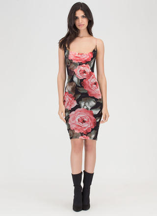 Big Bouquet Floral Sheer Mesh Dress