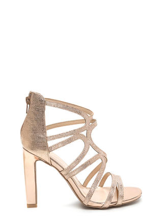 Glisten Up Textured Caged Heels