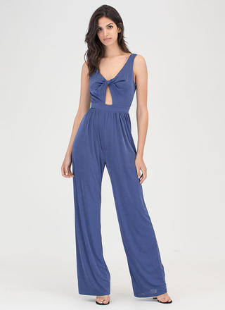 Twist Of Fate Plunging Palazzo Jumpsuit