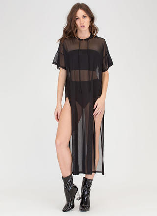 Goody Hoodie Sheer Mesh Maxi Dress