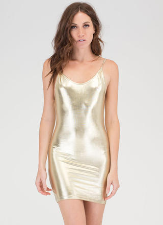 Poured Into My Metallic Minidress