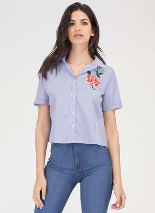 Rose Up Again Striped Collared Top