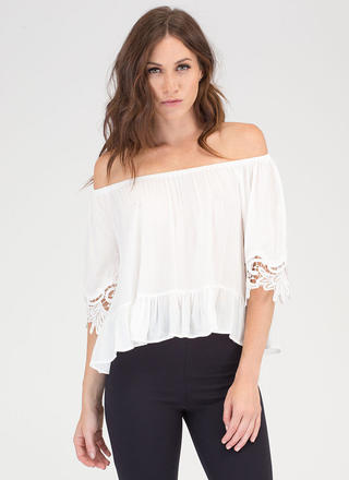 Leaf It To Me Off-Shoulder Blouse