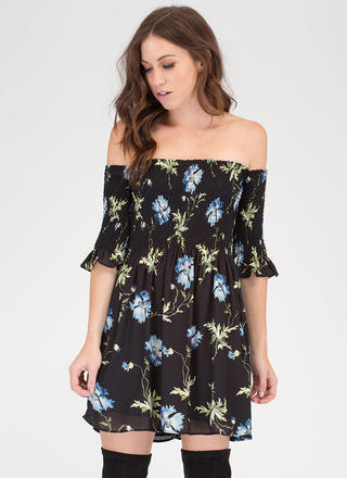 Smock Me Off-Shoulder Floral Dress