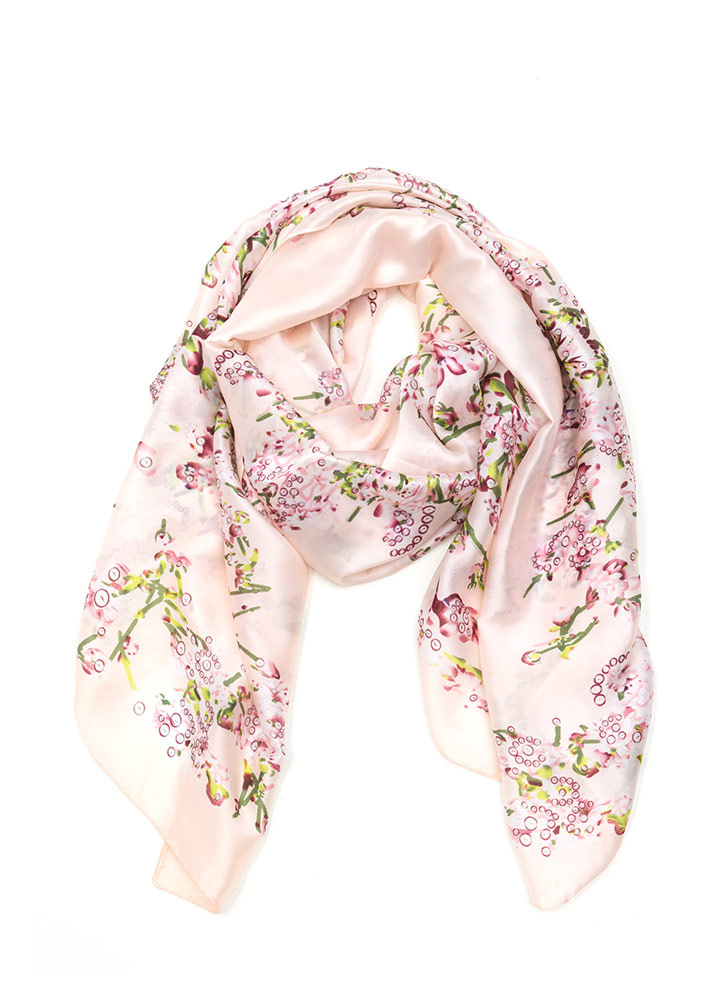 Lilac Patch Printed Satin Scarf