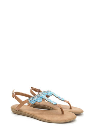 Just Bead It Sparkly T-Strap Sandals