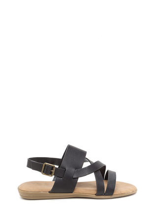Strappy Camper Faux Leather Sandals