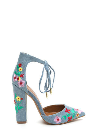 Flower Party Embroidered Denim Heels