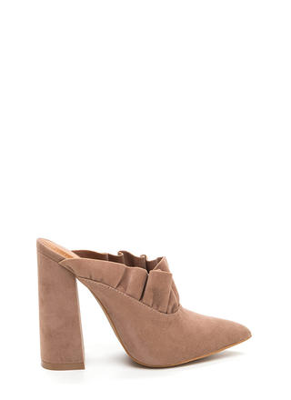 What A Frill Pointy Chunky Mule Heels