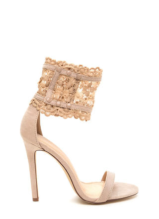 Romance Is Alive Lace Faux Suede Heels
