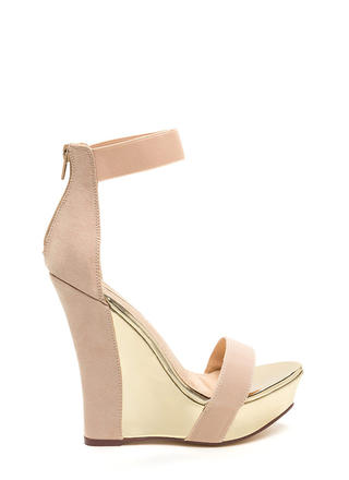 Statement Strut Metallic Platform Wedges