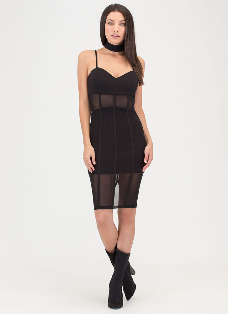 Everything Lines Up Sheer Mesh Dress