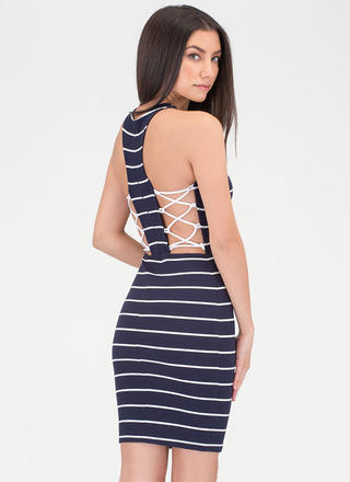 Stripe The Note Laced Minidress