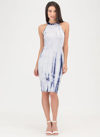 Ink Tank Cut-Out Tie-Dye Dress