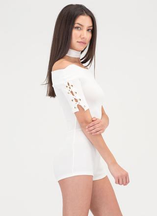 Tied Down Off-Shoulder Romper