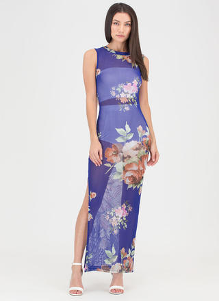 Bring Flowers Slit Sheer Mesh Maxi