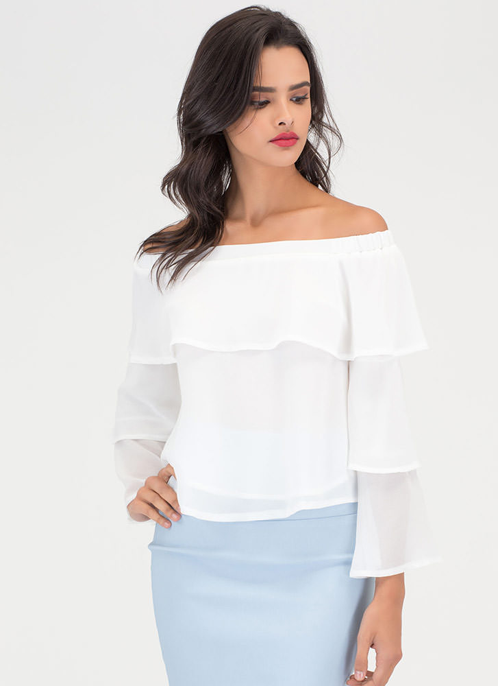 Tiering Up Ruffled Off-Shoulder Blouse