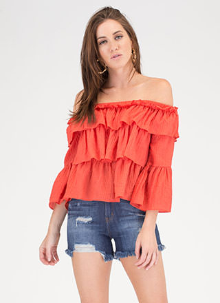 Textured Tale Ruffled Off-Shoulder Top