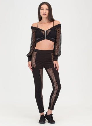 Mesh Up Off-Shoulder Top And Pant Set