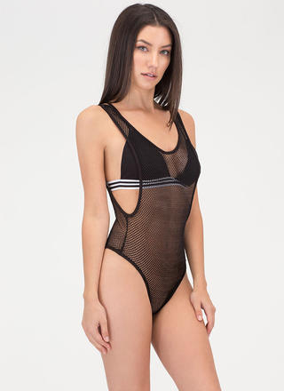 Hole Again Netted Thong Bodysuit