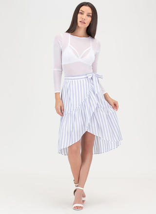 Liner Notes Striped Wrap Skirt