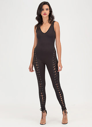 Lace The Facts Plunging Jumpsuit