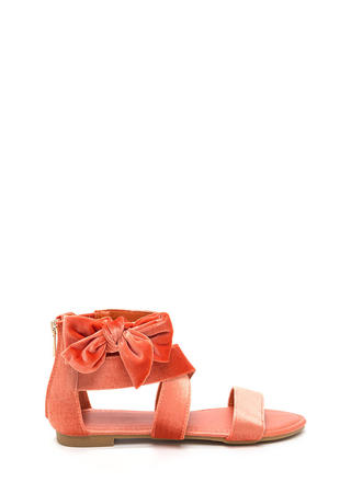 Bow Well Strappy Velvet Sandals