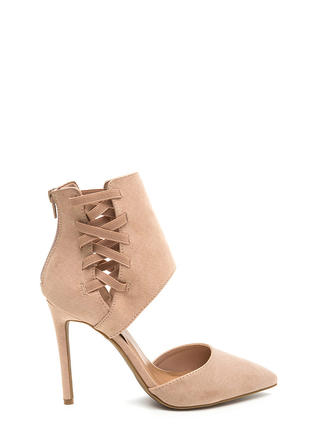 Winning Point Laced Faux Suede Heels