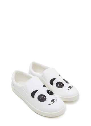 Happy Panda Faux Leather Sneakers