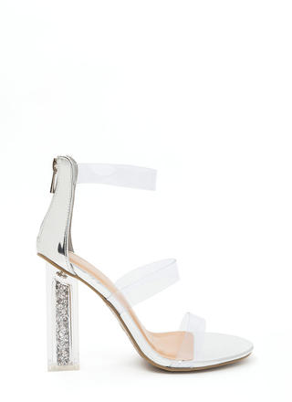 Sparkle In Your Step Chunky Clear Heels