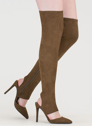 Get Your Point Cut-Out Faux Suede Boots