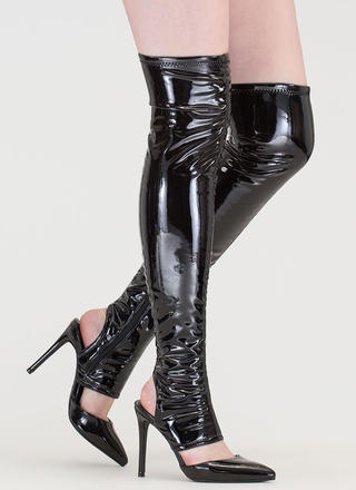 Get Your Point Cut-Out Faux Patent Boots