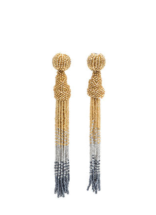 Bead Up Long Tassel Earrings