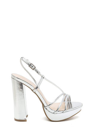 Strappy Mood Chunky Metallic Heels