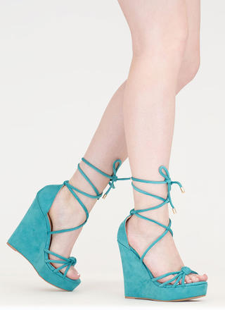 He Loves Me Knot Lace-Up Wedges