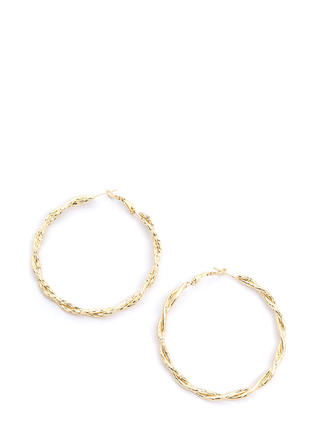 Dramatic Twist Textured Hoop Earrings