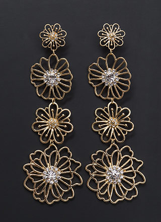 Glam Beauty Floral Faux Jewel Earrings