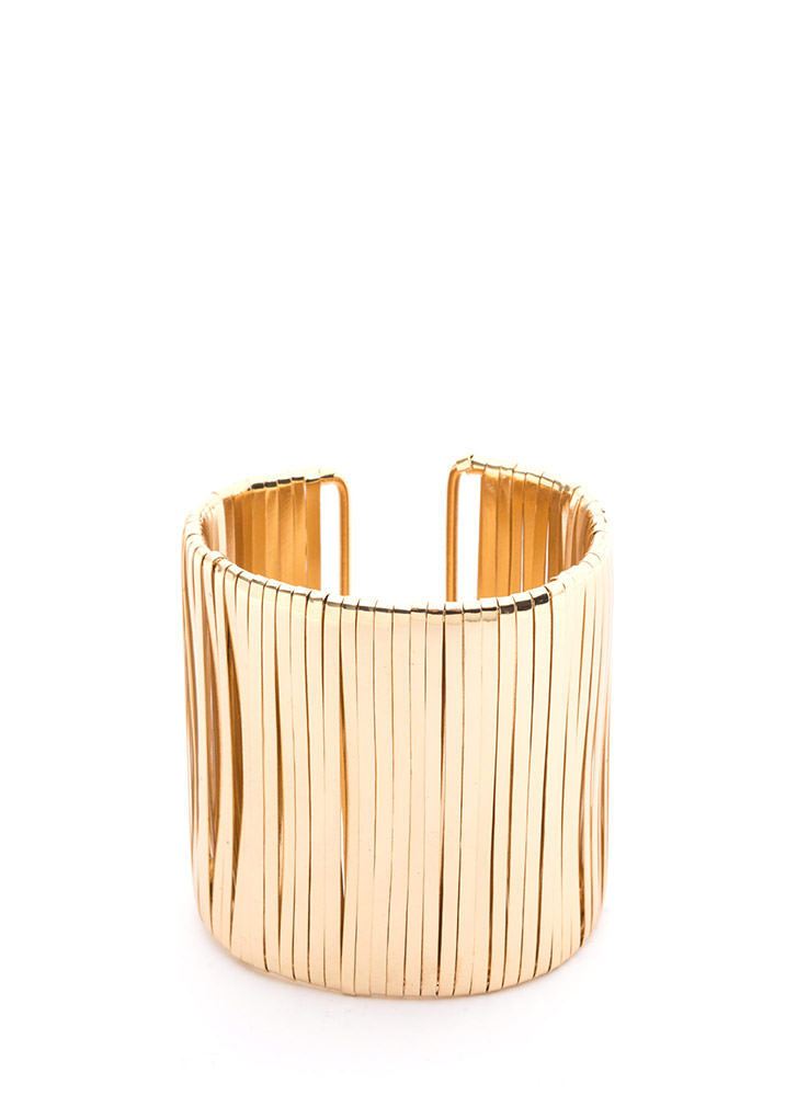 Glam Soiree Wide Textured Cuff