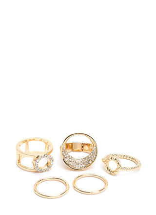 Glitz It On Rhinestone Ring Set