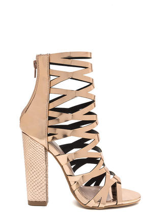 So Hammered Chunky Caged Metallic Heels