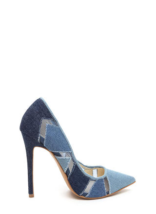 Perfect Patch Pointy Denim Pumps