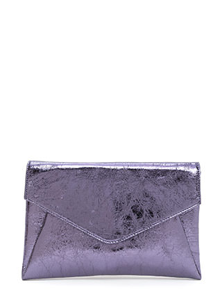 Precious Metals Textured Envelope Clutch