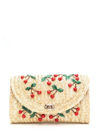 Cherry Pie Woven Straw Clutch