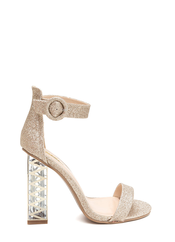 Glam Party Glittery Clear Chunky Heels