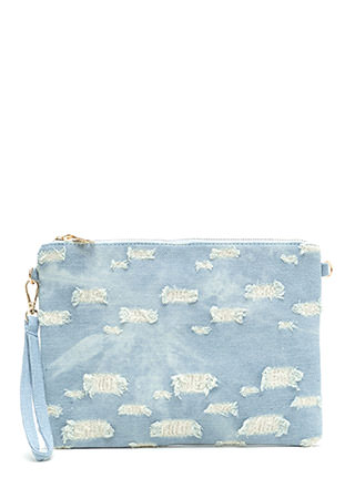 Denim Days Distressed Clutch