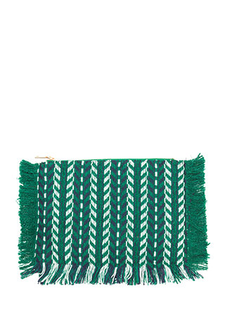 Boho Beauty Woven Chevron Fringe Clutch