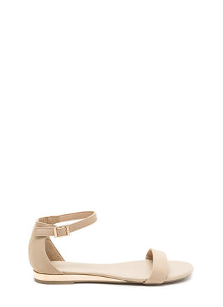 Toe The Line Strappy Faux Nubuck Sandals