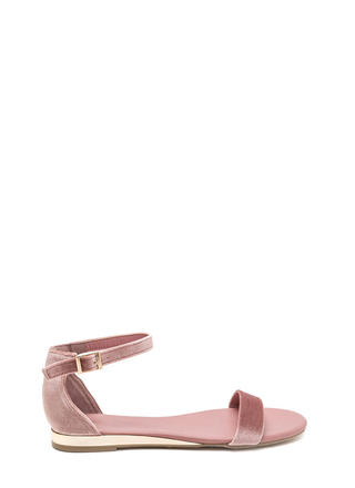 Toe The Line Strappy Velvet Sandals